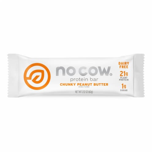 No Cow Chunky Peanut Butter Vegan Protein Bar Perspective: front