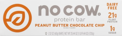 no cow Peanut Butter Chocolate Chip Protein Bars Perspective: front