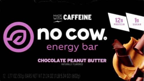 no cow Chocolate Peanut Butter Energy Bars Perspective: front