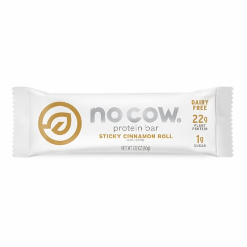 No Cow Sticky Cinnamon Roll Flavor Protein Bar Perspective: front