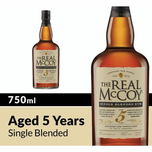 The Real McCoy 5 Year Single Blended Rum Perspective: front