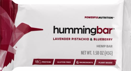 Humming Hemp hummingbar Lavender Pistachio & Blueberry Hemp Bar Perspective: front