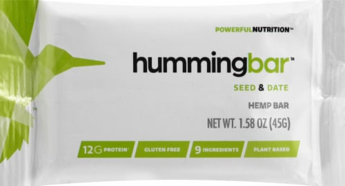 Humming Hemp hummingbar Seed & Date Hemp Bar Perspective: front