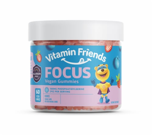 Vitamin Friends Focus Kids Berry Flavored Vegan Gummies 100mg Perspective: front