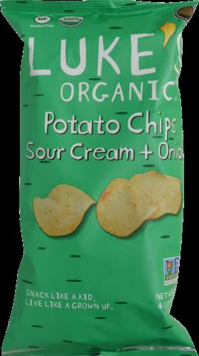 Luke's Organic Sour Cream + Onion Potato Chips Perspective: front