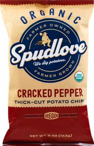 SpudLove Cracked Pepper Thick-Cut Potato Chips Perspective: front
