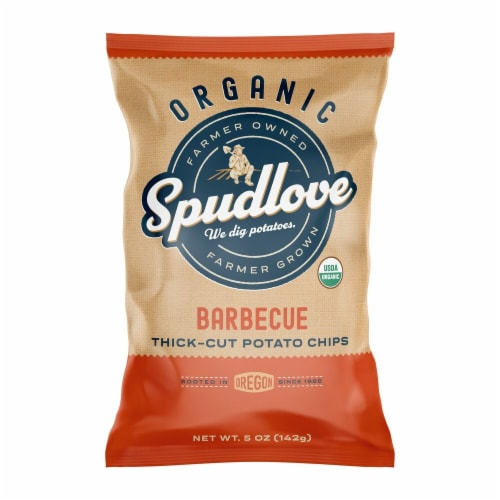 SpudLove Organic Barbecue Thick-Cut Potato Chips Perspective: front