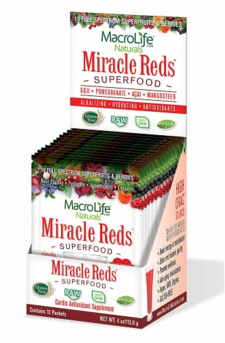 Macro Life Naturals Miracle Reds Berry Supplement Packets Perspective: front