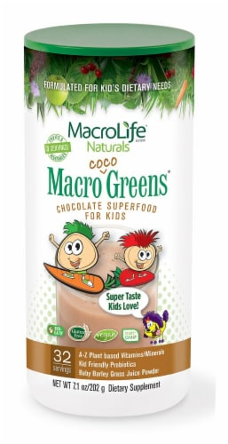 Macro Life Naturals  Jr. Macro Coco-Greens for Kids   Chocolate Perspective: front