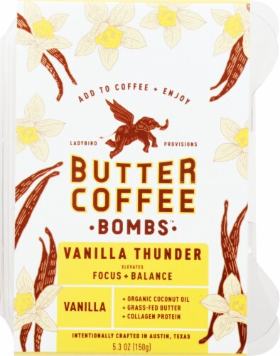 Ladybird Provisions Vanilla Thunder Butter Coffee Bombs Perspective: front