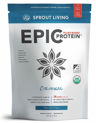Sprout Living Organic Gluten Free Epic Original Plant-Based Protein Powder Perspective: front