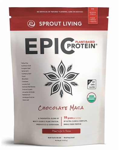 Sprout Living Organic Gluten Free Epic Chocolate Maca Plant-Based Protein Perspective: front