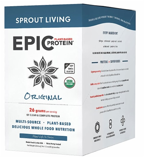 Sprout Living Organic Original Epic Plant-Based Protein Powder Packets Perspective: front