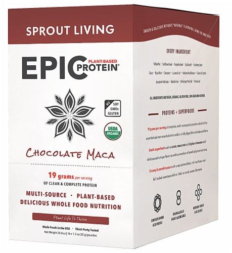 Sprout Living Organic Gluten Free Epic Chocolate Maca Plant-Based Protein Mix Perspective: front