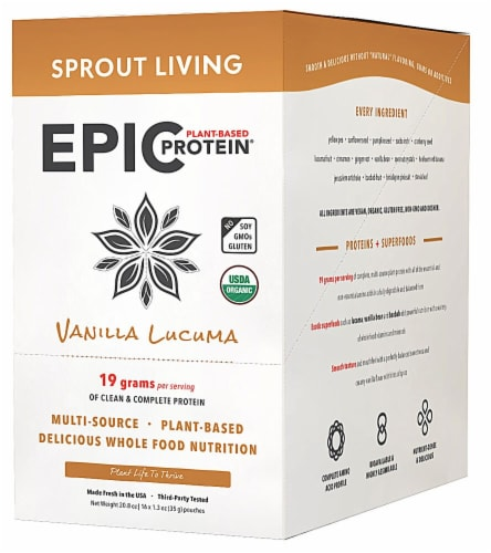 Sprout Living Organic Gluten Free Epic Vanilla Lucuma Plant-Based Protein Powder Perspective: front