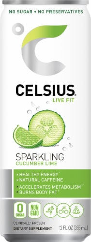 Celsius Sparkling Cucumber Lime Energy Drink Perspective: front