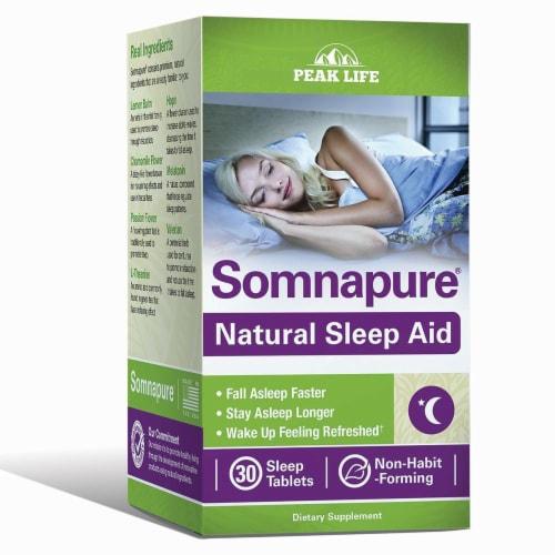 Peak Life Somnapure Natural Sleep Aid Tablets Perspective: front