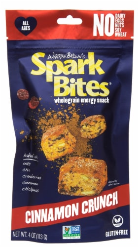 Warren Brown's Spark Bites Cinnamon Crunch Energy Snack Perspective: front
