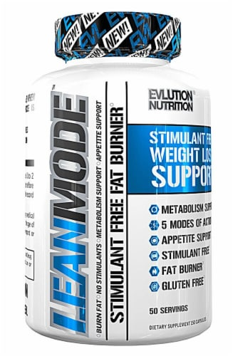 Evlution Nutrition Leanmode Stimulant Free Fat Burner Dietary Supplement Capsules Perspective: front