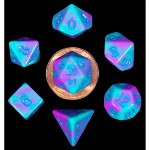Metallic Dice Games LIC4172 Mini Purple & Teal with Blue Numbers Dice Games - Set of 7 Perspective: front