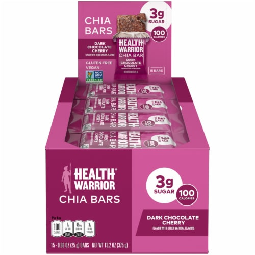 Superfood Health Warrior Dark Chocolate Cherry Chia Bars 15 Count Perspective: front
