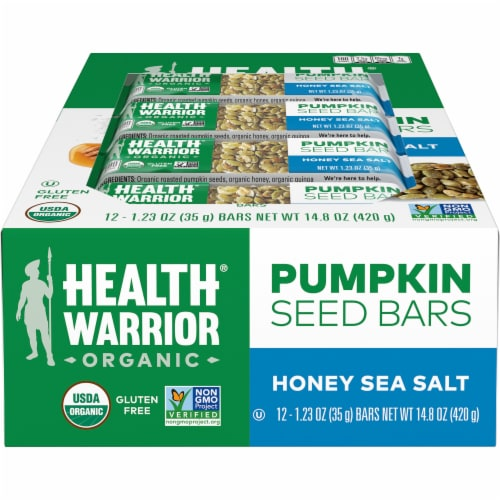 Health Warrior Organic Honey Sea Salt Pumpkin Seeds Bars 12 Count Perspective: front