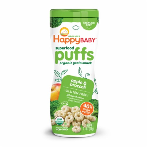 Happy Baby Organic Apple Puffs Baby Food Perspective: front