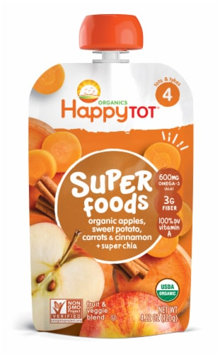 Happy Tot Organics Super Foods Sweet Potato Apple Carrot & Cinnamon Stage 4 Fruit & Veggie Blend Perspective: front