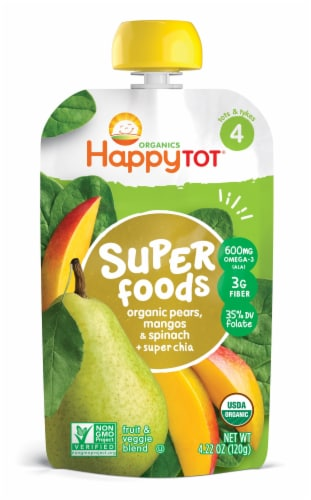 Happy Tot Organics Super Foods Spinach Mango & Pear Baby Food Perspective: front