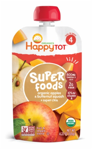 Happy Tot Organic Stage 4 Super Foods Apples & Butternut Squash Blend Baby Food Pouch Perspective: front