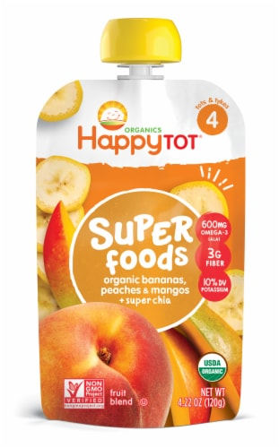 Happy Tot Organic Superfoods Banana Peach & Mango Stage 4 Baby Food Perspective: front