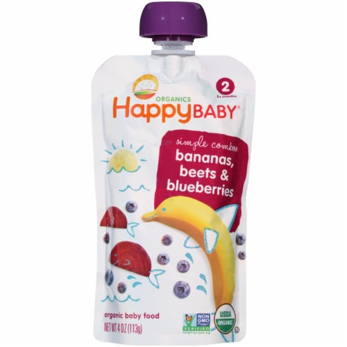 Happy Baby Organics Bananas Beets & Blueberries Stage 2 Baby Food Perspective: front
