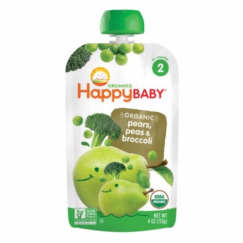Happy Baby Organic Simple Combos Spinach Mango & Pear Stage 2 Baby Food Perspective: front