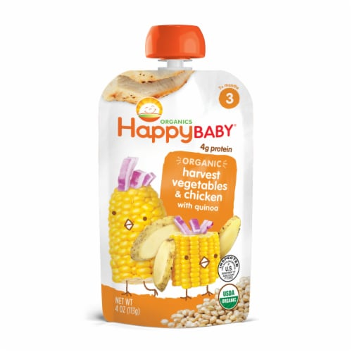 Happy Baby Hearty Meals Organic Harvest Vegetables & Chicken Stage 3 Baby Food Perspective: front