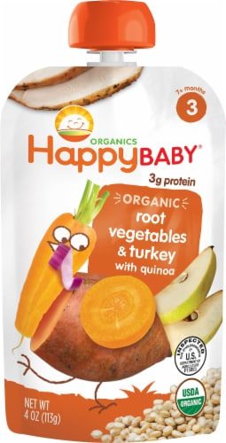 Happy Baby Organic Root Vegetables & Turkey With Quinoa Baby Food Pouch Perspective: front