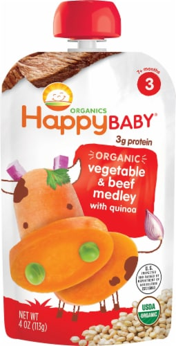 Happy Baby Organic Hearty Meals Vegetable & Beef Medley Stage 3 Baby Food Pouch Perspective: front