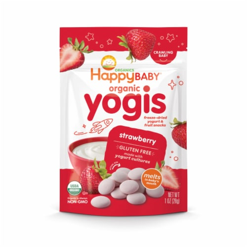 Happy Baby Organic Yogis Strawberry Freeze-Dried Yogurt & Fruit Baby Snacks Perspective: front