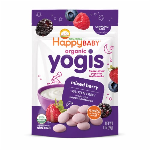 Happy Baby® Organics Organic Yogis Mixed Berry Freeze-Dried Yogurt & Fruit Baby Food Snacks Perspective: front