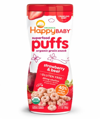 Happy Baby Organic Superfood Puffs Strawberry & Beet Veggie Fruit & Grain Puffs Perspective: front