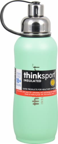 Thinksport Insulated Sports Bottle - Coated Mint Green Perspective: front