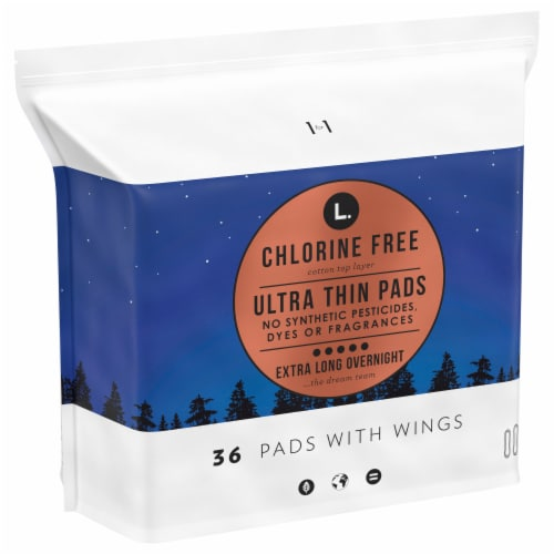 L. Chlorine Free Ultra Thin Extra Long Overnight Pads with Wings Perspective: front