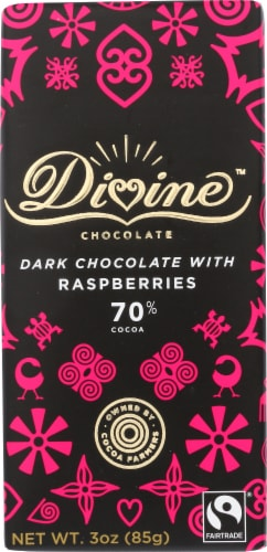 Divine 70% Cocoa Dark Chocolate with Raspberries Bar Perspective: front