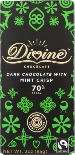 Divine Chocolate 70% Cocoa Dark Chocolate and Mint Crisp Bar Perspective: front