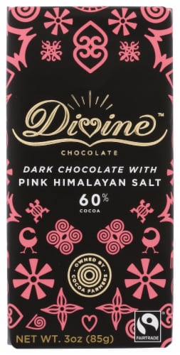 Divine 60% Cocoa Dark Chocolate with Pink Himalayan Salt Bar Perspective: front