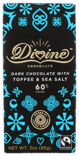 Divine Chocolate 60% Cocoa Dark Chocolate with Toffee and Sea Salt Bar Perspective: front