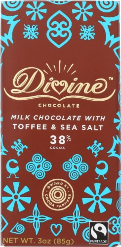 Divine 38% Cocoa Milk Chocolate with Toffee & Sea Salt Perspective: front