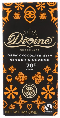 Divine 70% Cocoa Dark Chocolate with Ginger & Orange Bar Perspective: front
