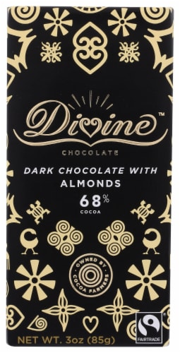 Divine 68% Cocoa Dark Chocolate with Almonds Perspective: front