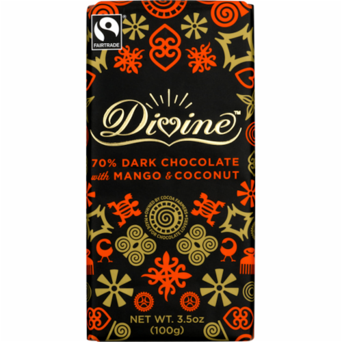 Divine Chocolate 70% Dark Chocolate with Mango and Coconut Bar Perspective: front