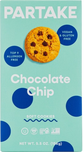 Partake Foods Soft Baked Chocolate Chip Cookies Perspective: front